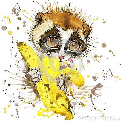 Funny lemur and banana with watercolor splash textured Stock Photo