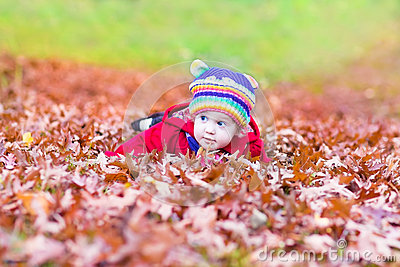 Funny little baby girl with colorful red autumn leaves