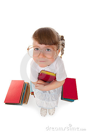 Funny little girl with book