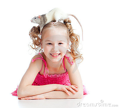 Funny Little Girl Child With Pet Rat Her Head