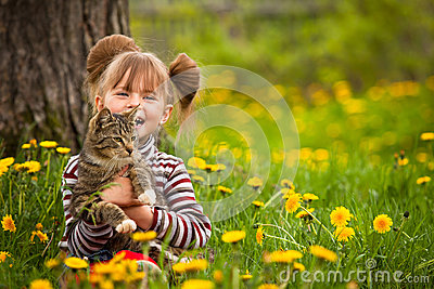Funny little girl playing with a cat