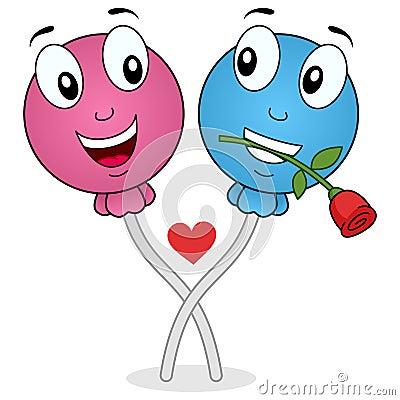 Funny Lollipop in Love Cartoon Characters