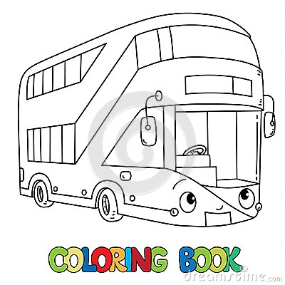 Free Funny London Bus With Eyes. Coloring Book Royalty Free Stock Photos - 124369498