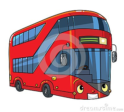 Free Funny London Double-deck Red Bus With Eyes Stock Images - 125046074