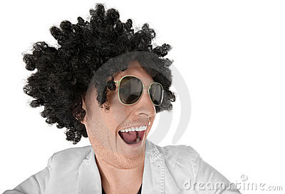 Funny looking guy with black curly wig