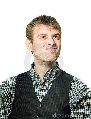 Funny-looking optimistic man