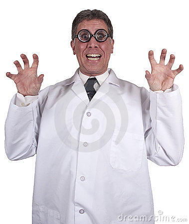 Funny Mad Scientist Crazy Doctor Isolated on White