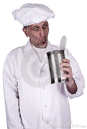 Funny Male Cook or Chef Looking in Food Tin Can