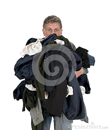 Funny Man Armload, Clothes, Dirty Laundry Isolated
