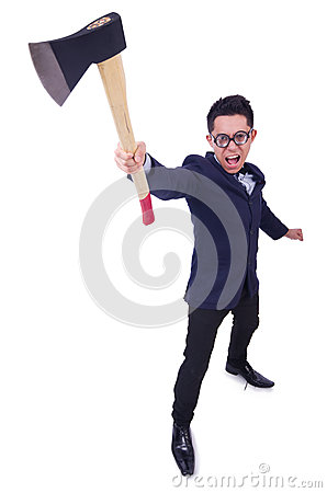 Funny man with axe