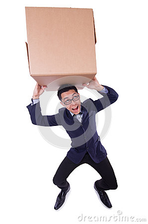 Funny man with box