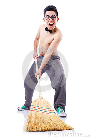 Funny man with broom