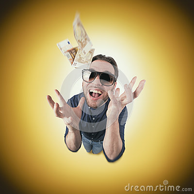 Free Funny Man Catch Money From Above Stock Photos - 72626563