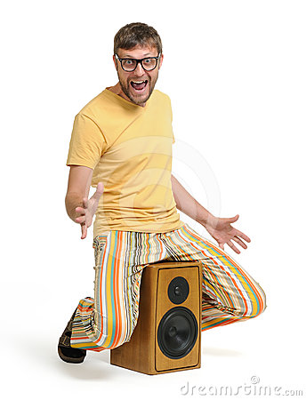 Funny man dancing on the speaker