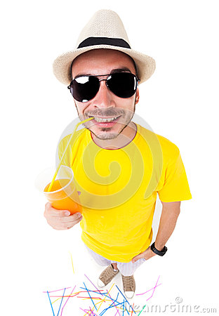 Free Funny Man Drinking Juice Wearing Sun Glasses, Hat And Yellow T Shirt On White Royalty Free Stock Image - 31269116