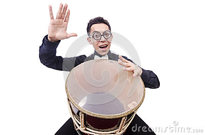 Funny man with drum