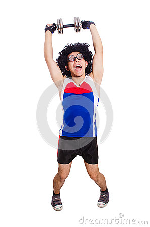 Funny man exercising