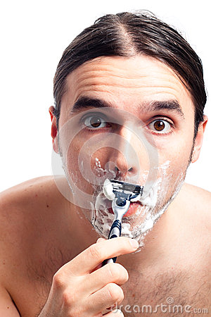 Funny man face shaving