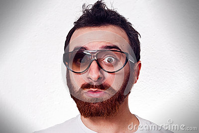 Funny man with fancy broken glasses