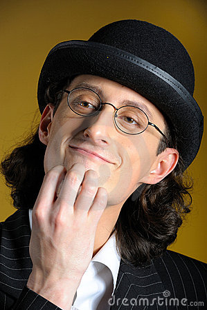 Funny man in glasses in retro suit