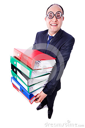 Funny man with lots of folders