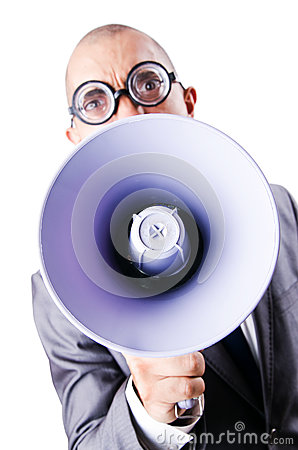 Funny man with loudspeaker