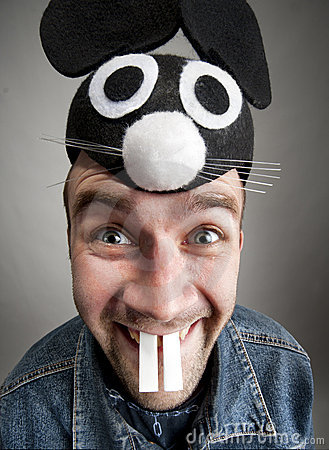 Funny man in mouse hat