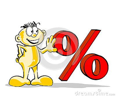 Funny man with percent symbol