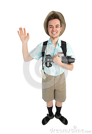 funny man photographer with camera and backpack. stock