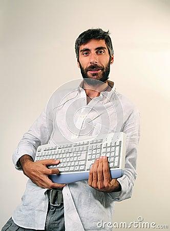 Funny Man Playing Keyboard