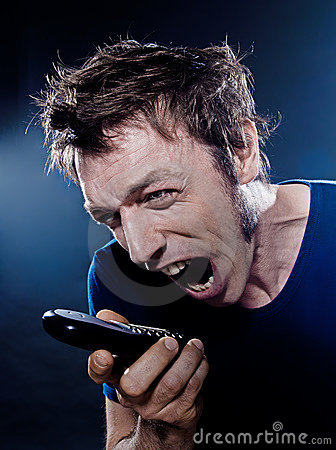Funny Man Portrait phoning screaming