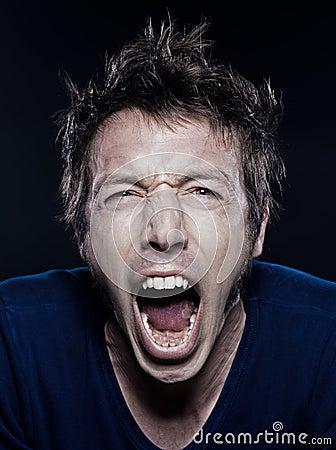 Funny Man Portrait screaming