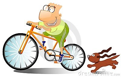 Funny man is riding on a bike.