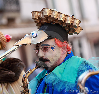 Funny man saxophonist Editorial Photography