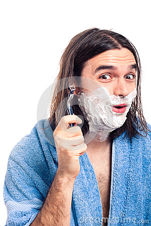 Funny man shaving