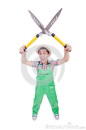 Funny man with shears