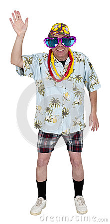Funny Man Tourist Wave While Travel Isolated