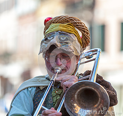Funny Man Trombone Player Editorial Photo