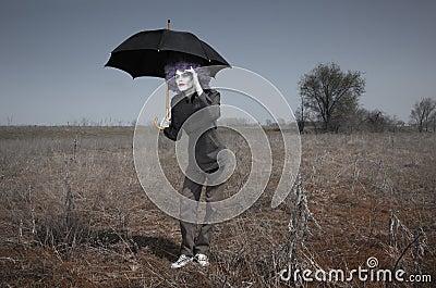 Funny man and umbrella