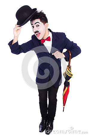 Funny man with umbrella
