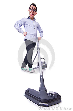 Funny man with vacuum cleaner