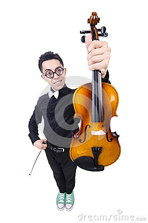 Funny man with violin
