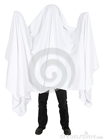 Funny Man Wearing Bedsheet Ghost Costume Isolated
