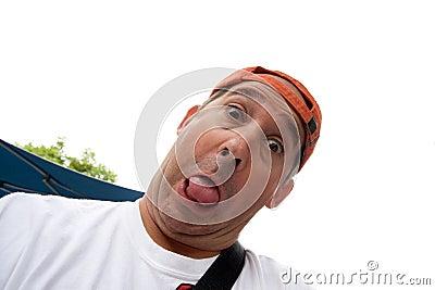 Funny man wearing a cap