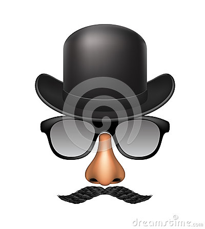 Funny mask made of glasses, mustache, nose and hat