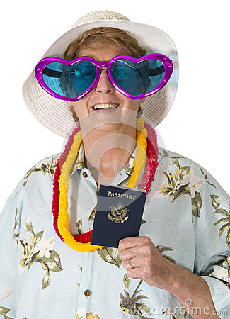 Funny Mature Senior Woman Tourist, Travel, Passport, Isolated