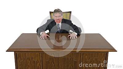 Funny Mean Angry Mad Businessman Isolated
