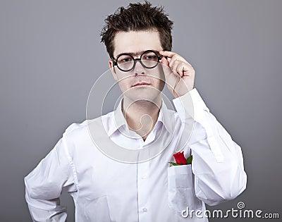 Funny men in glasses.