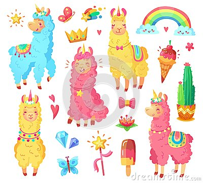 Free Funny Mexican Smiling Alpaca With Fluffy Wool And Cute Rainbow Llama Unicorn. Magic Pets Cartoon Illustration Set Royalty Free Stock Photography - 117065067
