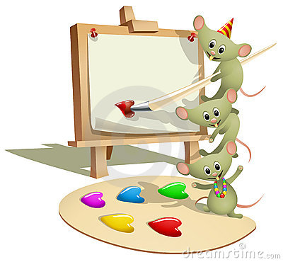Funny Mice Teaching How to Paint